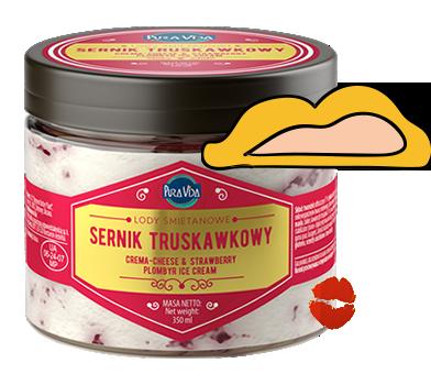 Pura Vida lody śmietanowe sernik truskawkowy